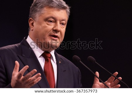 UKRAINE, KIEV - JANUARY 14, 2016:Ukrainian President Petro Poroshenko speaks with the media during his final 2015 press conference in Kiev.