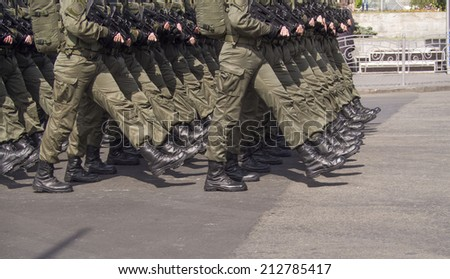 UKRAINE, KYIV - 23 Aug, 2014: The troops are on Khreshchatyk. -- In Kiev, the first time in five years, was the official military parade. The sixth in the history of independent Ukraine.