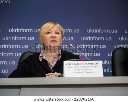 "UKRAINE, KYIV - October 1, 2014: Svetlana Fabricant - deputy of head of political party ""Strong Ukraine"""