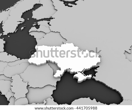 ukraine map 3D illustration