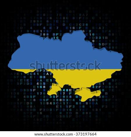 Ukraine map flag on hex code illustration - stock photo