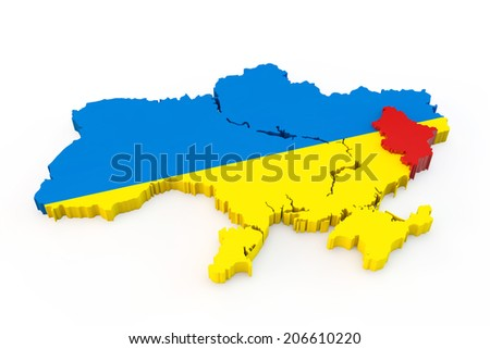 Ukraine map with allocated red Donetsk region - stock photo