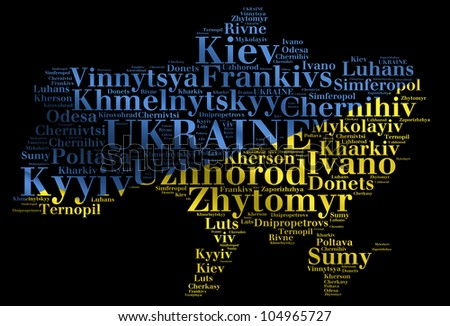 UKRAINE map words cloud of major cities with a black background