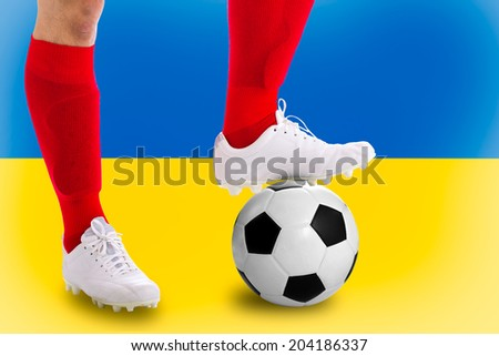 Ukraine  soccer player with football for competition in Match game.