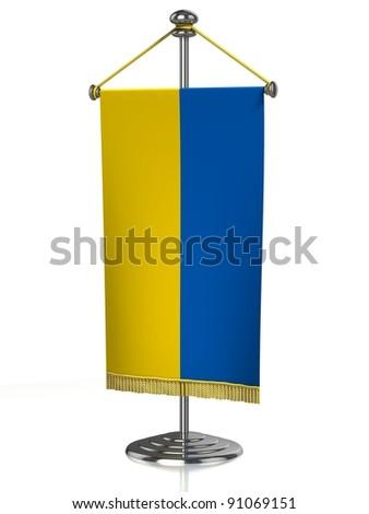 Ukraine table flag isolated on white - stock photo