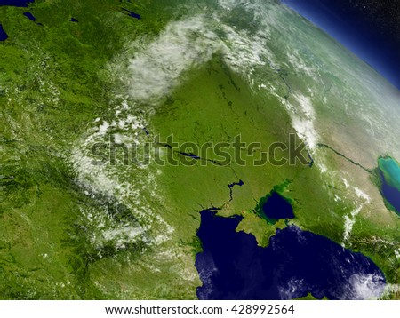 Ukraine with surrounding region as seen from Earth's orbit in space. 3D illustration with highly detailed planet surface and clouds in the atmosphere. Elements of this image furnished by NASA. - stock photo