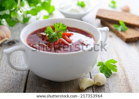 Ukrainian cabbage and beetroot soup - borshch