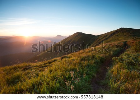 Ukrainian Carpathians, the landscape on the ridge of the mountains in the morning at dawn