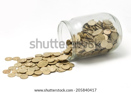 Ukrainian Coins In Bank  Isolated On White Background