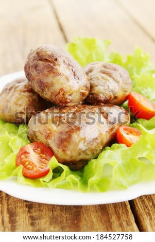 Ukrainian cuisine Grechanik, Pork internal fat stuffed with buckwheat and  liver