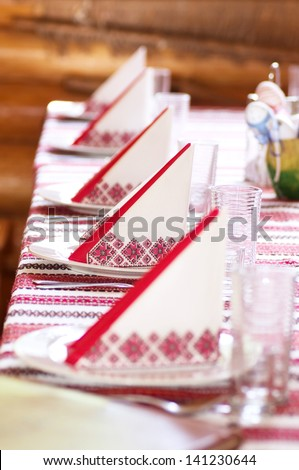 Ukrainian decorated table serving - stock photo