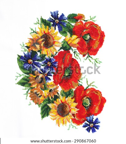Ukrainian embroidery. Embroidery beads. Pattern of flowers - stock photo