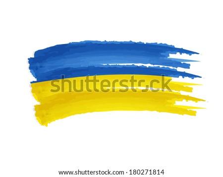 Ukrainian flag - isolated hand drawn illustration banner - stock photo