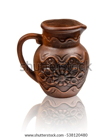 Ukrainian folklore ceramic jug on white background with reflex