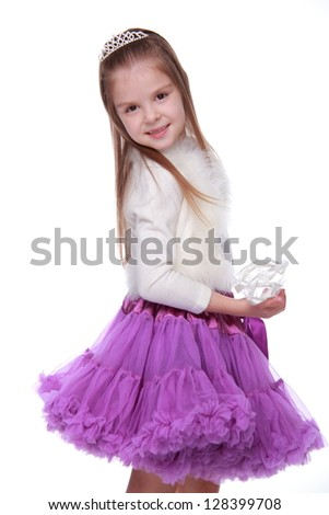 Ukrainian girl  isolated on white/Image of pretty joyful kid girl on Holiday party