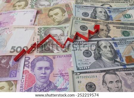 Ukrainian hryvnia, dollars and schedule - stock photo