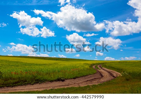 Ukrainian landscape. View on the  field and beautiful sky with clouds, Ukraine