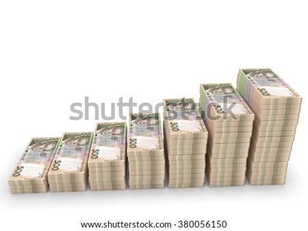 Ukrainian money grivna isolated on white background - stock photo