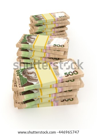 Ukrainian money hryvnia isolated on white background. 3d
