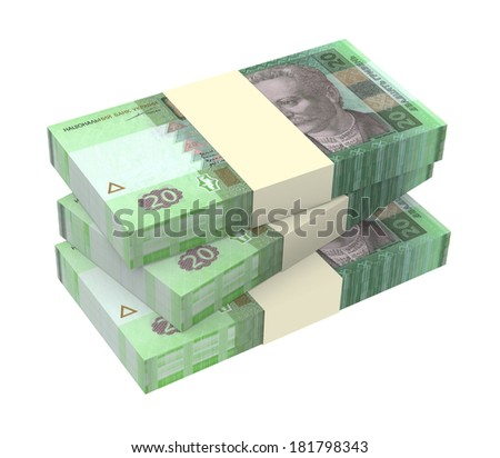 Ukrainian money isolated on white background. Computer generated 3D photo rendering.