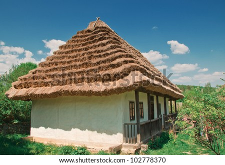 ukrainian old log hut in a village