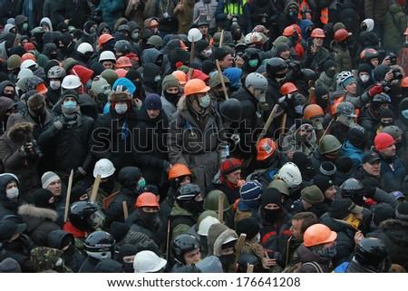 Ukrainian protesters ready for battle. Kyiv, Ukraine, January 19, 2014 - stock photo