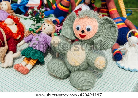 Ukrainian souvenirs - Knitted toys. animal with big ears.
