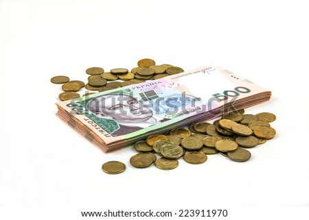Ukrainian stack of paper money and coins - stock photo