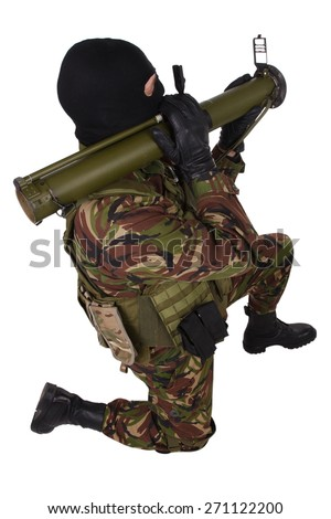 Ukrainian volunteer with grenade launcher rpg isolated on white