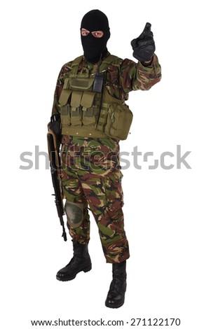 Ukrainian volunteer with kalashnikov rifle isolated on white - stock photo