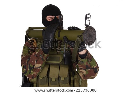 Ukrainian volunteer with RPG grenade launcher isolated on white