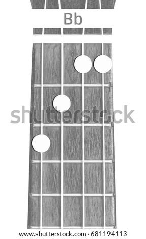 Ukulele Chord Bb On White Background Stock Photo Royalty Free