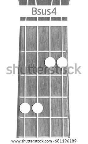 Ukulele Chord Bsus 4 On White Background Stock Photo Royalty Free