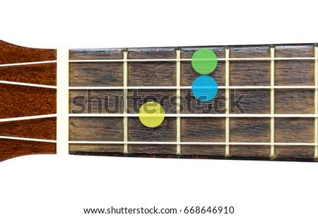 Ukulele Chord Csus 2 On White Background Stock Photo (100% Legal ...