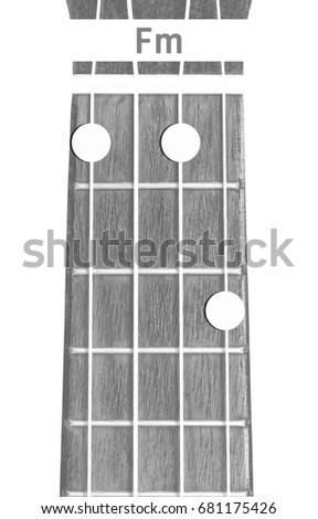 Ukulele Chord Fm On White Background Stock Photo 681175426