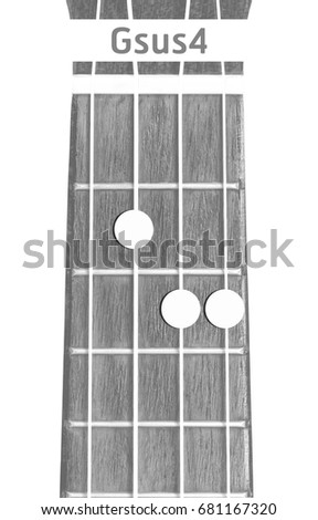 Ukulele Chord Gsus 4 On White Background Stock Photo (Royalty Free ...