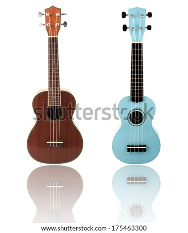 Ukulele guitar brown color and a white background - stock photo