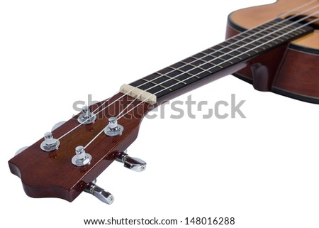Ukulele hawaiian guitar isolated on white background
