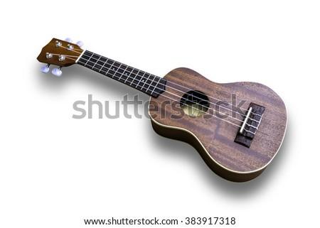 Ukulele hawaiian guitar isolated on white background - stock photo
