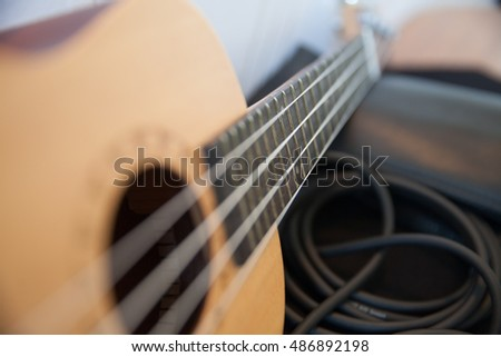 ukulele on a table