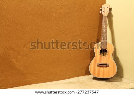 Ukulele on  wall background