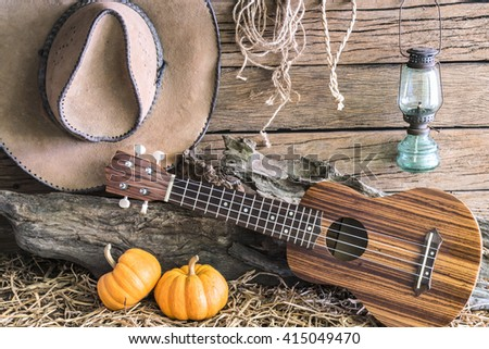 Ukulele with american west rodeo brown felt cowboy hat and pumpkins in vintage ranch barn studio background, Still life style - stock photo