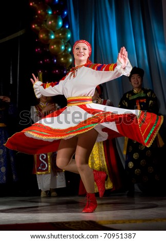ULAN-UDE, RUSSIA - FEBRUARY 10: Dancers perform a Russian folk dance at the Annual Republican Best Sportsmen Award, February, 10, 2010, Ulan-Ude, Russia.
