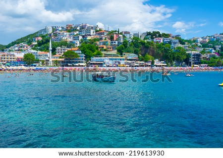 ULCINJ, MONTENEGRO - JULY 14, 2014: The best way to relax on resort is to make a trip along the coast and enjoy the cityscape and nature, on July 14 in Ulcinj.