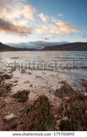 Ullapool, Scotland: The sea at sunrise - stock photo