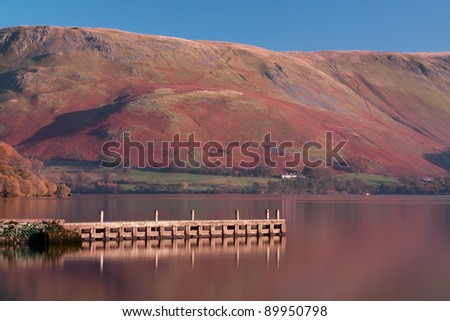 Ullswater Pier.  The pier is a landing stage on the banks of Ullswater, Cumbria in the English Lake District.