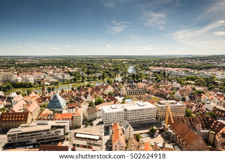 ULM, GERMANY - AUGUST 13: View over the city of Ulm, Germany on August 13, 2016. Ulm is famous for having the church with the tallest steeple of the world.