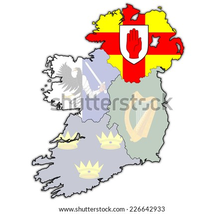 ulster with borders and flags of provinces on map of ireland