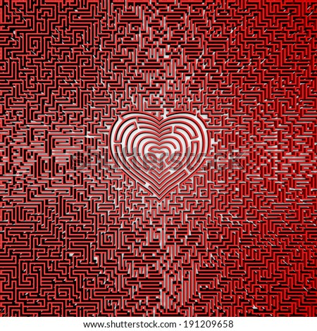 Ultimate heart maze - stock photo