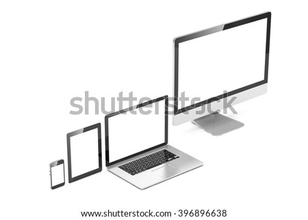 Ultimate web design, laptop, smartphone, tablet, computer, display. 3D rendering.